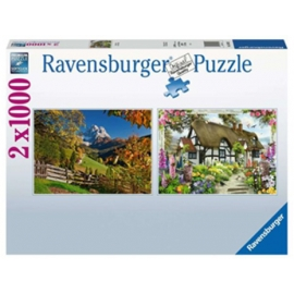 Ravensburger puzzels Monte Pelmo & Country Cottages  - 2x1000 stukjes